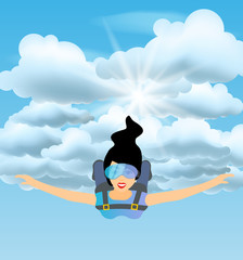 Skydiver woman flying in the blue cloudy sky. Vector female character illustration in flat style. Sky diving cartoon sportsman.