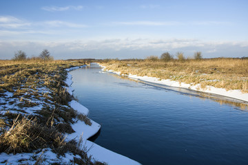 View of the river in the winter