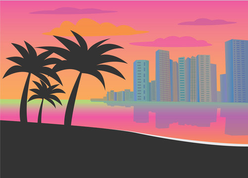 Flat vector illustration of Miami. Image for design