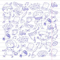 Children theatre patterns. Elements for design on the theatre. Collection of kids theatre symbols: mask, ticket, binocular. KIndergarten or school children perfomance. Doodle icons. Vector.