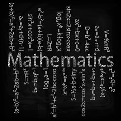 Set of mathematical formulas on a black background. Hand drawing. Drawing chalk on a blackboard.Vector image