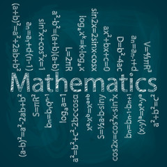 Set of mathematical formulas on a blue background. Hand drawing. Drawing chalk on a blackboard.Vector image