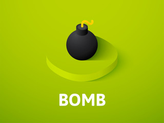 Bomb isometric icon, isolated on color background