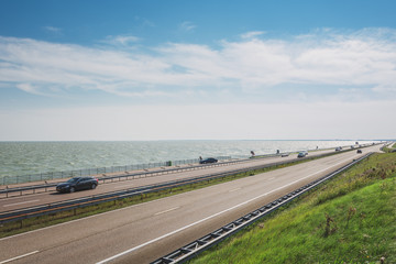 The Afsluitdijk is the thirty-two kilometer long connection between the Dutch provinces of North Holland and Friesland