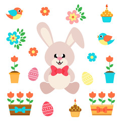 cartoon easter elements with bunny sitting