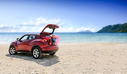 Summer car on beach and free space