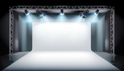Empty stage in television studio. Vector illustration.