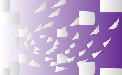 Abstract vector background with flying, falling, scattered office white paper sheets, documents. backdrop flight paper. Purple, ultraviolet clear chaotic paper.