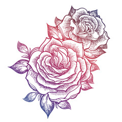 Boho flash tattoo linear style beautiful roses.