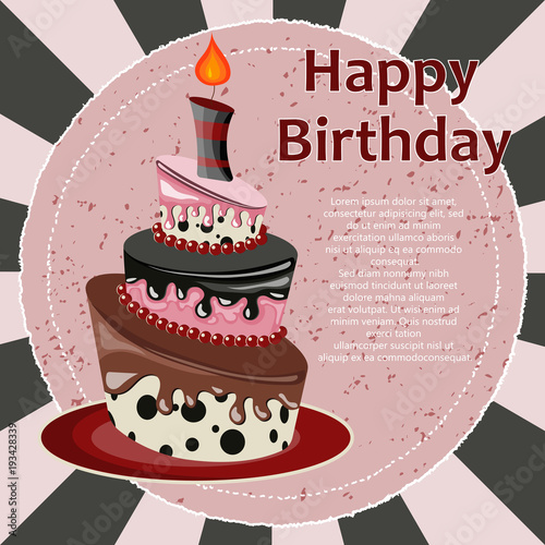 Birthday Card With Cake Flat Vector Illustration Fichier Vectoriel