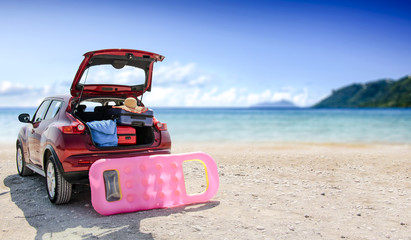 summer car on beach and landscape of sea