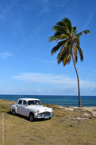 American Classic Car On Cuban Beach Cuba