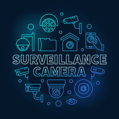 Surveillance camera blue circular vector illustration