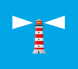 Striped lighthouse, sea beacon for