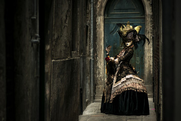 Beautiful costume at the Carnival in Venice