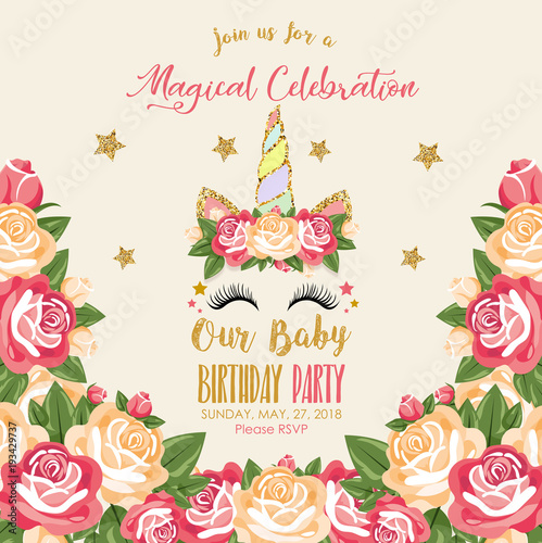 Birthday invitation with unicorn stock image and royalty free birthday invitation with unicorn stopboris Image collections