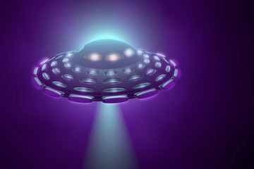 UFO flying spaceship. Alien intergalactic saucer, 3D illustration