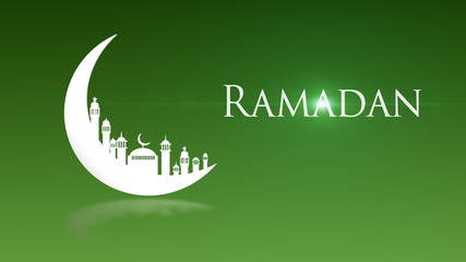 Moon Mosque Sighting Announcement Ramadan kareem Mubarak spin with green Background.