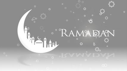 Moon Mosque Sighting Announcement Ramadan kareem Mubarak spin with gray Background...