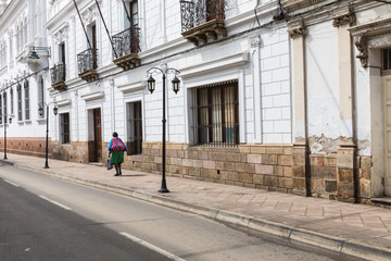 Street in Sucre. Sucre is the constitutional capital of Bolivia. Traditional colonial architecture, white houses.