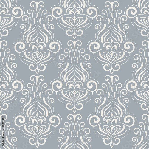 Floral Pattern Wallpaper Damask PatternVector Ornament Vintage Blue