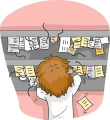 Man Order Overload Illustration