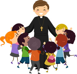 Man Priest Stickman Kids Hug Illustration