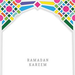 ramadan kareem greeting card template vector design with moroccan mosaic mosque gate