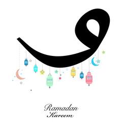 Search photos ramadan greeting ramadan kareem vav letter with lamp crescents and stars traditional lantern of ramadan nights m4hsunfo
