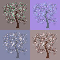 Trees Design Set. Vector illustration of four ornamental trees.