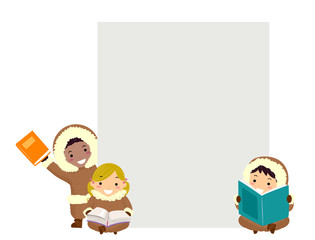 Stickman Kids Eskimos Books Board Illustration