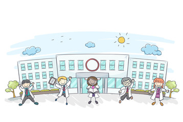 Stickman Kids Hospital Doctors Illustration