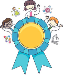 Stickman Kids Scientist Award Illustration
