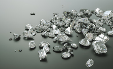 Luxury diamonds on black backgrounds - 3D Rendering