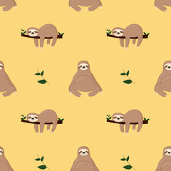 Seamless pattern with cute jungle sloths on green background,