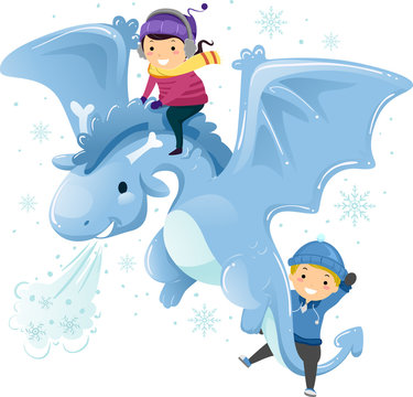 Stickman Kids Ice Dragon Fly Illustration