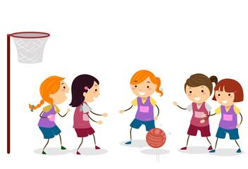 Stickman Kids Girls Net Ball Illustration