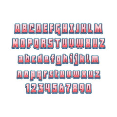 Comic lettering font 3d. Vector alphabet.Hand Lettering script font. Typography alphabet for Designs Logos, Packaging Design, Poster. ABC...