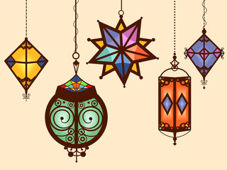Colorful Moroccan Hanging Lamps Illustration
