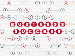 Finance concept: Painted red text Business Success on White Brick wall background with Binary Code