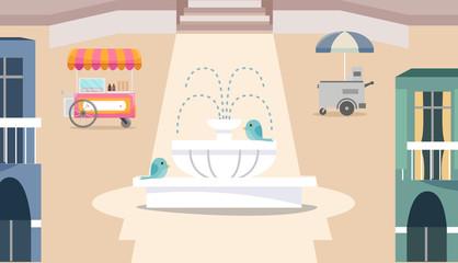 Ice Cream Cart City Illustration