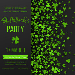 Saint Patrick s Day poster with green four and tree leaf clovers on black background. Vector illustration. Party invitation design, typographic template. Lucky and success symbols.