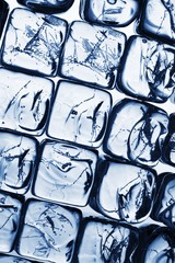 close up view of the Ice cubes as a background