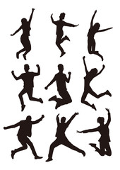 People Jump Silhouettes