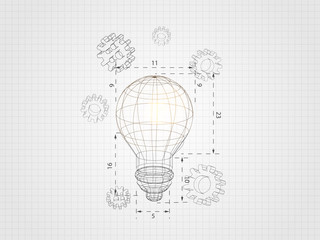 Wireframe lightbulb with 3d gear on grid background represents technology concept and engineering. Vector illustration.
