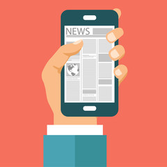 On line news concept. Read newspaper on your smart phone. Flat vector illustration