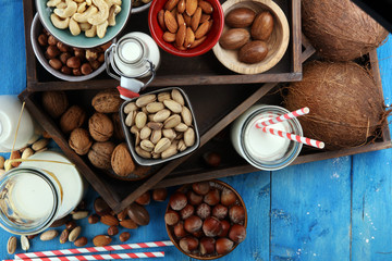 Alternative types of milks. Vegan substitute dairy milk with nuts