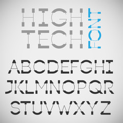 High tech font, vector.