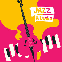 Jazz music festival poster with music instruments. Violoncello and piano keys flat vector illustration. Jazz concert