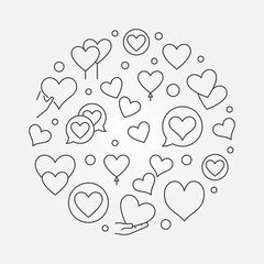 Hearts round outline vector modern illustration